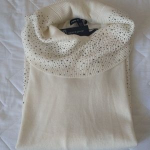 Cable and Gauge White Bejeweled Cowl Neck Sweater